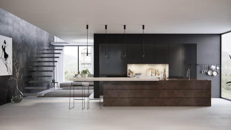 מטבח מודרני ארונות שחורים ושיש בסיס עץ