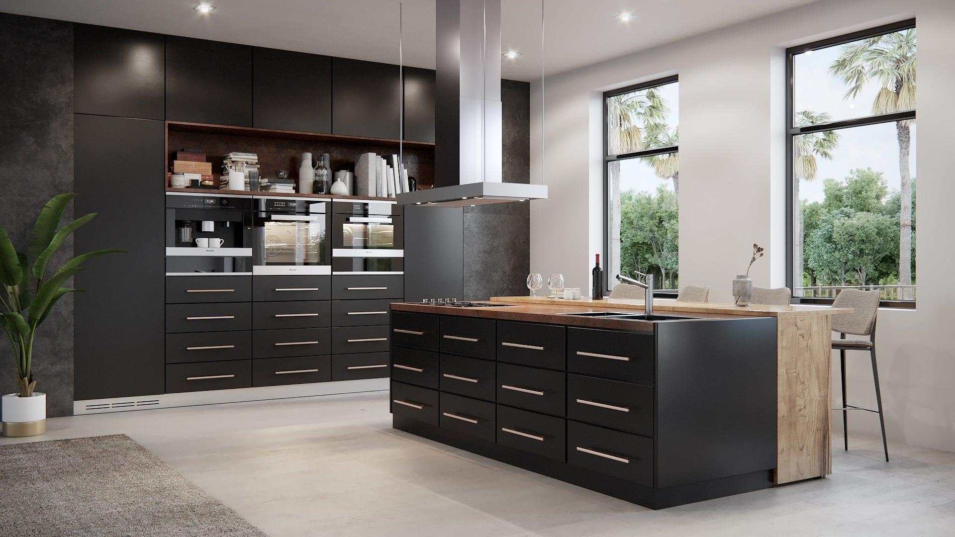 מטבחים קלאסיים - צבע שחור עץ מלא, שילוב משטח עבודה מעץ
